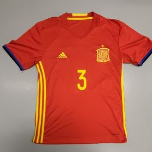 Spain soccer jersey home red pique medium